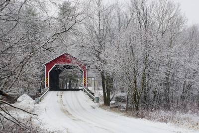 Red Covered Bridge in the Winter; Adamsville Quebec Canada