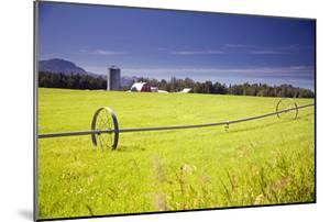 Rolling Irrigation Sprinkler on Hay Field with Farm Background Mat-Su Valley Sc Alaska Summer by Design Pics Inc