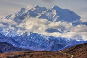 Scenic View of Mt. Mckinley with Colorful Autumn Tundra and the Park Road in the Foreground by Design Pics Inc