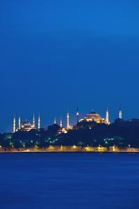 Sultanahmet or Blue Mosque and Hagia Sofia at Dusk by Design Pics Inc
