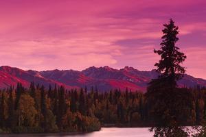 Sunrise Byers Lake Alaska Range Fall Southcentral Ak by Design Pics Inc