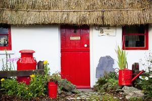 Traditional Irish Cottage with a Red Door and Red Decorative Items; Currabinny County Cork Ireland by Design Pics Inc