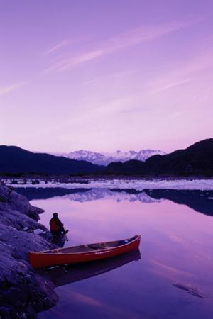 Woman Viewing Lake Next to Canoe Shoup Bay Marine Park by Design Pics Inc