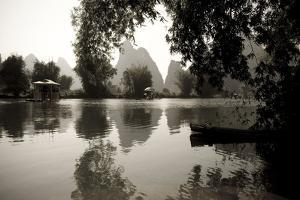 Yulong River, Yangshuo, China; Black and White Scenic of River by Design Pics Inc