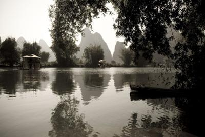 Yulong River, Yangshuo, China; Black and White Scenic of River