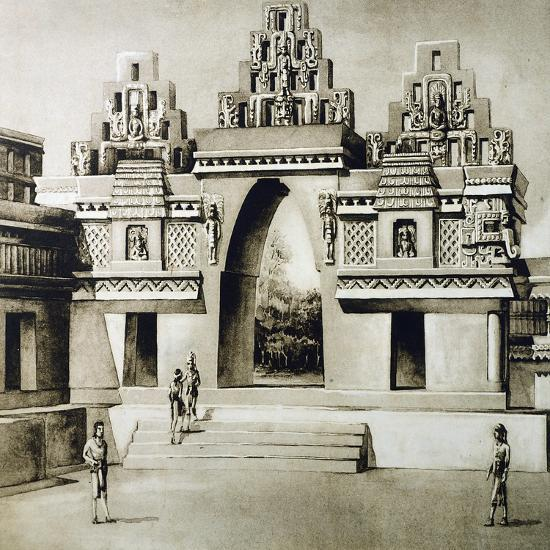 Design-Reconstruction of the Arc of Labna, Puuc Style, Mexico--Giclee Print