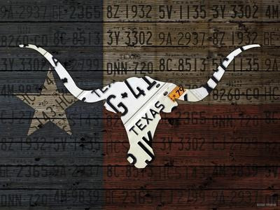 Longhorn Art with Flag