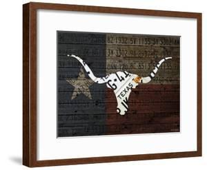 Longhorn Art with Flag by Design Turnpike