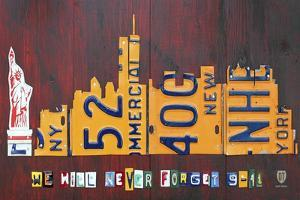 NYC License Plate Art Skyline 911 Version by Design Turnpike