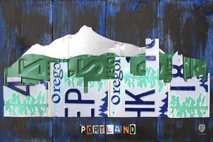Portland Skyline License Plate Art by Design Turnpike
