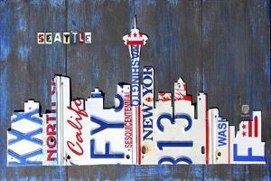 Seattle Skyline License Plate Art by Design Turnpike