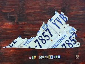 Virginia License Plate Map Large by Design Turnpike