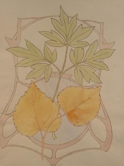 Design with Fig and Vine Leaves and a Sinuous Art Nouveau Motif in the Background.-Koloman Moser-Giclee Print