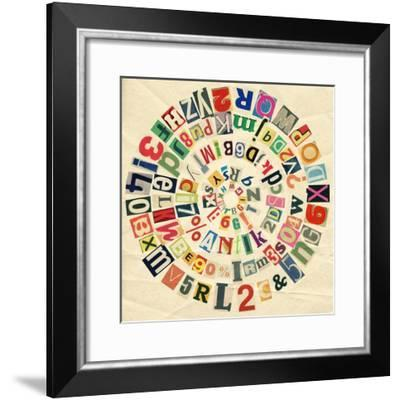 Designed Background. Digital Collage Made Of Newspaper Clippings And Old Paper Texture-donatas1205-Framed Premium Giclee Print