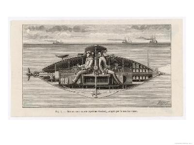 Designed by Claude Goubet in 1885: The First Electrically Powered Submarine- Poyet-Giclee Print