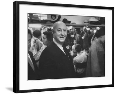 Designer Christian Dior Standing in Dressing Room at Paris Salon Before Showing of His Collection-Loomis Dean-Framed Premium Photographic Print