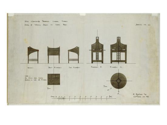 Designs for Writing Desks Shown in Front and Side Elevations, for the Ingram Street Tea Rooms, 1909-Charles Rennie Mackintosh-Giclee Print