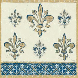 Regal Fleur de Lis Indigo and Cream by Designs Meloushka