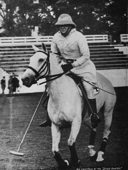 'Despite heavy responsibilities the favourite game of polo could not be neglected', c1930s, (1945)-Unknown-Photographic Print