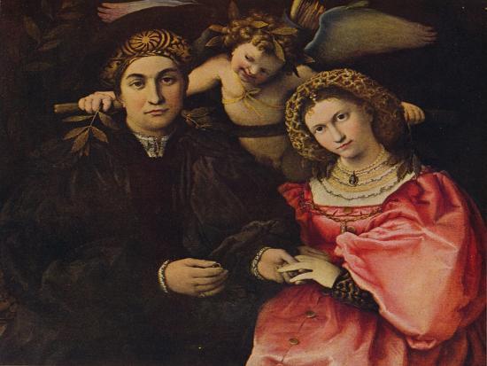 'Desposorio', (Micer Cassotti Marsilio and his wife Faustina), 1523, c1934-Lorenzo Lotto-Giclee Print