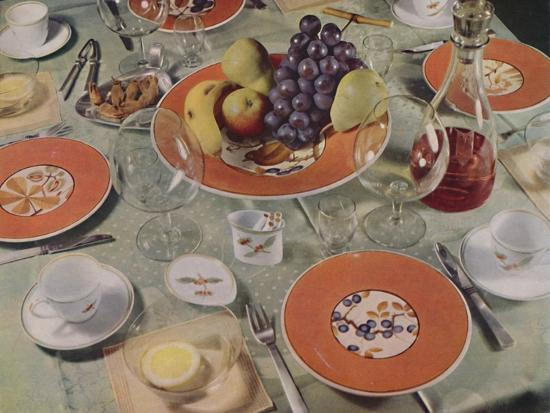'Dessert - In this table arrangement the fruit service is Royal Copenhagen faience', 1939-Unknown-Photographic Print