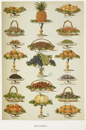 Dessert. Various Fruit Dishes-Isabella Beeton-Giclee Print