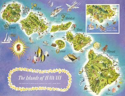 Map of the Islands of Hawaii, USA