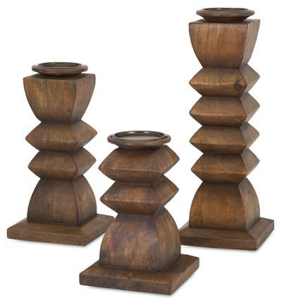 Desta Wood Candle Holder Trio
