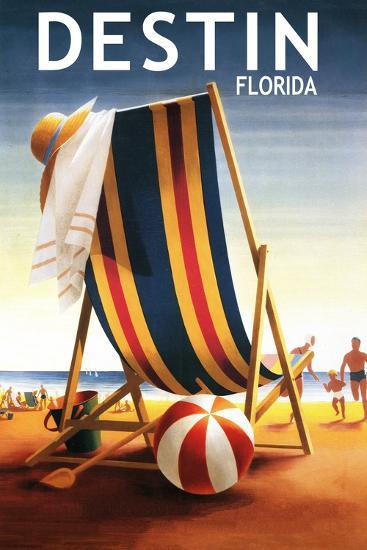 Destin, Florida - Beach Chair and Ball-Lantern Press-Art Print