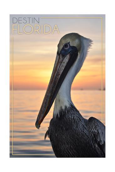 Destin, Florida - Pelican-Lantern Press-Art Print