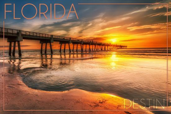 Destin, Florida - Pier and Sunset-Lantern Press-Wall Mural