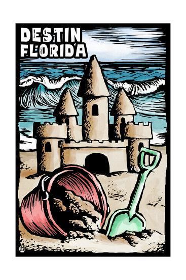 Destin, Florida - Sandcastle - Scratchboard-Lantern Press-Art Print