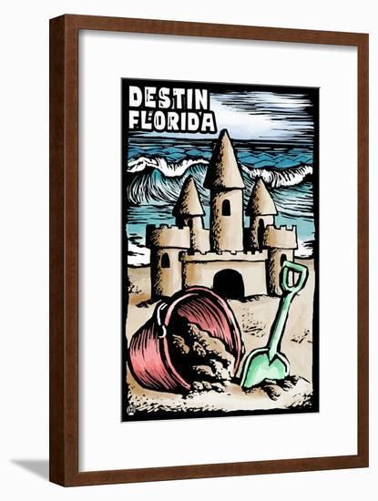 Destin, Florida - Sandcastle - Scratchboard-Lantern Press-Framed Art Print