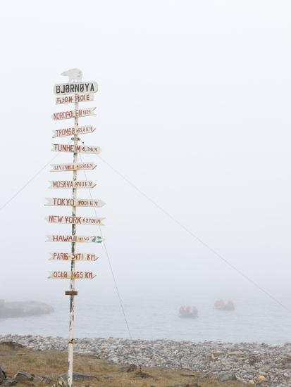 Destination Board, Spitzbergen, Bareninsel, Svalbard, Norway, Arctic, Scandinavia, Europe--Photographic Print