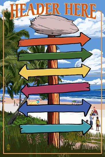 Destination Signpost Arrows (Beach)-Lantern Press-Wall Mural