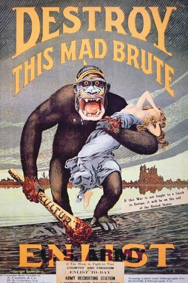 'Destroy This Mad Brute', World War One Recruitment Poster--Giclee Print