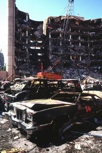 Destroyed Automobiles Near the Bombed Alfred Murrah Federal Building, 1995