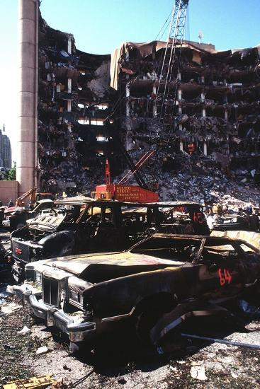 Destroyed Automobiles Near the Bombed Alfred Murrah Federal Building, 1995--Photo