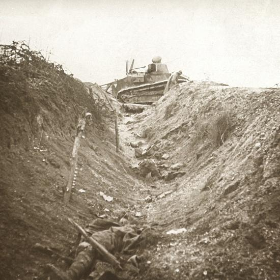 Destroyed tank and dead body, Auberives, France, c1914-c1918-Unknown-Photographic Print
