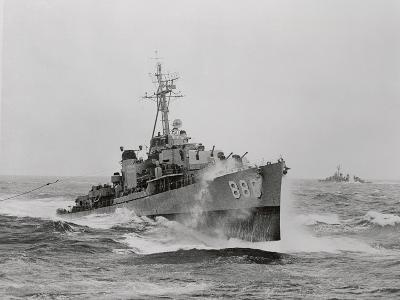 Destroyer Uss Orleck in Rough Seas--Photographic Print