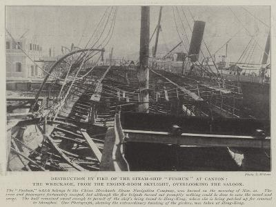 Destruction by Fire of the Steam-Ship Fushun at Canton--Giclee Print