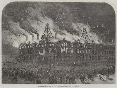 Destruction by Fire on the Queen Railway Hotel at Chester--Giclee Print