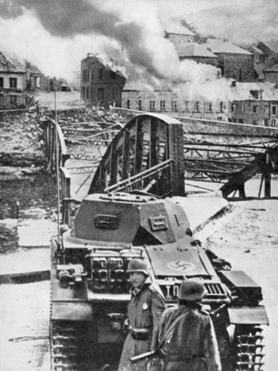 Destruction of Bridge over River Meuse by Belgians to Stop German Advance, World War 2, 1940--Giclee Print