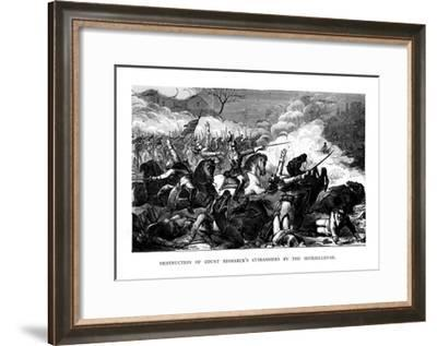 Destruction of Count Bismarck's Cuirassiers by the Mitrailleuse, C1870--Framed Giclee Print