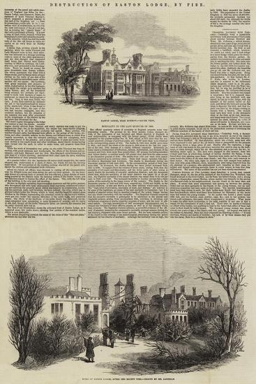 Destruction of Easton Lodge, by Fire--Giclee Print