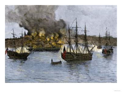 Destruction of Falmouth, Maine by Artillery Fire from British Ships, October 1775--Giclee Print