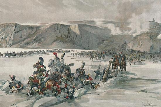 'Destruction of Retreating Russians at Satschan Lake', 1805, (1896)-Unknown-Giclee Print