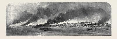 Destruction of Russian Stores at Gheisk, in the Sea of Azoff--Giclee Print