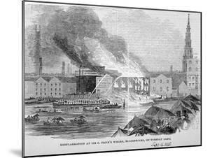 Destruction of Sir C Price's Oil Warehouse and Wharf, William Street, Blackfriars, London, 1845