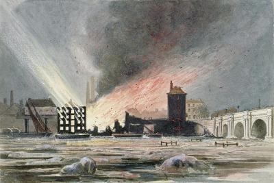 Destruction of Sir C Price's Oil Warehouse and Wharf, William Street, Blackfriars, London, 1845--Giclee Print